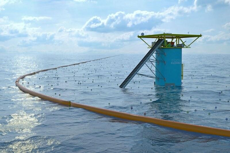 海洋垃圾清理計畫:the ocean cleanup海洋吸塵器的示意圖